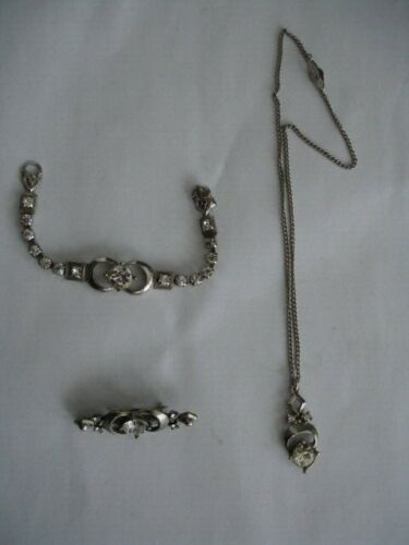 Art Deco Paste Low Grade Silver Necklace Bracelet Brooch Set Hallmarks
