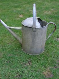 2 x Vintage Galvanised Metal Watering Cans