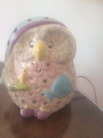 BARGIN ! Beautiful Owl hand made ceramic bedside lamp £10 ONO