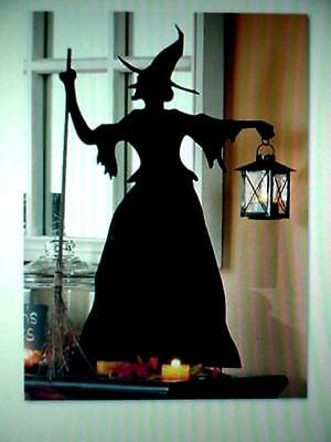 Halloween WITCH SILHOUETTE Metal Cutout RARE OOP display  Glass Lantern MINT HTF (Halloween Silhouette Cutouts)
