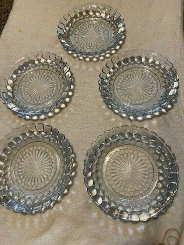 """LOT OF 5 ANCHOR HOCKING GLASS CO. BUBBLE SAPPHIRE BLUE 7-3/4"""" FLAT SOUP BOWLS"""