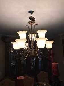 9 light wrought iron chandelier