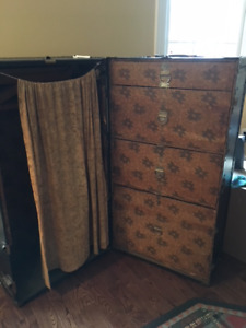 Vintage upright Belber Wardrobe Trunk with drawers-photo prop