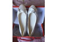 Ladies White Satin wedding shoes Size 7/8- Never Worn- £15