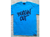 Buggin' out blue tshirt M size brand NEW (RRP 24.99)