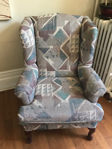 Snazzy 90's Tribal Print Wing Chair with Cover - SOLID