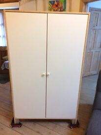 2 white/ivory wardrobes with built in shelves-NEWQUAY/CRANTOCK