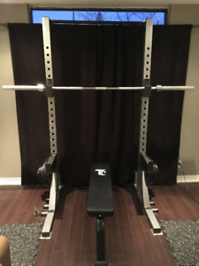 Power Rack, Safety, Chin Up, Flat Bench, Weights, Bar + MORE