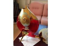 RED CRYSTAL AND GOLD FISH VASE