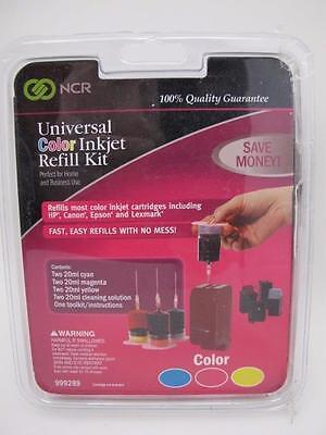 NCR Universal Tri Color Printer Ink Inkjet Refill Kit NEW Set for HP Canon Epson