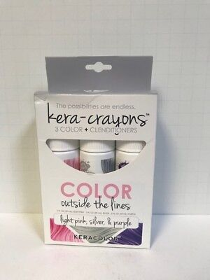 Keracolor KeraCrayons Kera Crayons Clenditioner -Light Pink, Silver, Purple 2oz