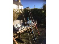 Fishing Rods, Reels and Tackle. Two Beach Casters one brand new.