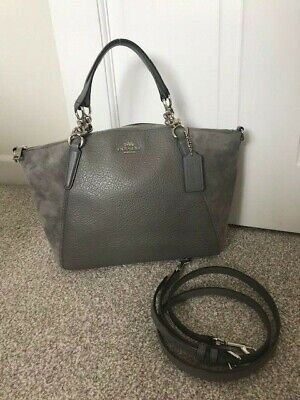 BRAND NEW COACH Kelsey Satchel Grey Pebbled Leather and Suede Bag