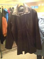 Men's brown/black leather jacket- large