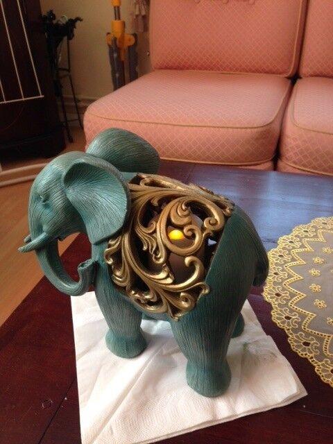 GREEN ELEPHANT VOTIVE LIGHT FIGURE