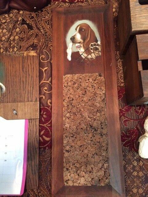 Basset Hound Wooden Cork Board Holder Hand Painted