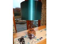 NEXT LARGE TABLE LAMP WITH A TEAL SHADE SMOKEY GLASS & CHROME BASE.