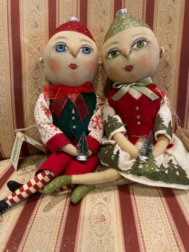Joe Spencer Gathered Traditions Odette & Oakley Ornament Head Doll Set New