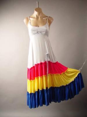 Tiered Color Block Gypsy Peasant Boho Empire Waist Long Maxi 265 mv Dress S M - Dress Color Block