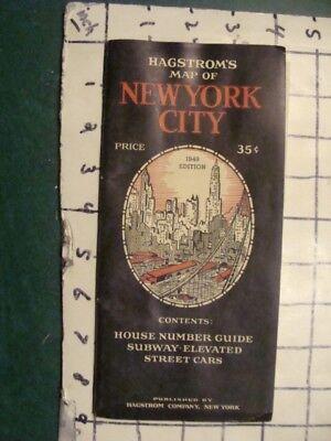 Original Vintage -- NEW YORK City Map -- HAGSROM's -- 2 MAPS -- 1930's