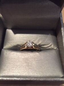 14K two toned Gold ring  0.5ct diamond ring