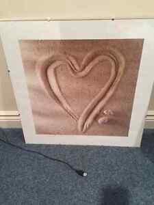 glass heart in sand picture