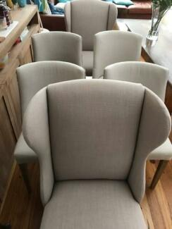 Dining chairs x 6 linen style in excellent condition