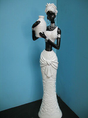 Black African Lady women figurine statue DECOR home bar set girl white dress