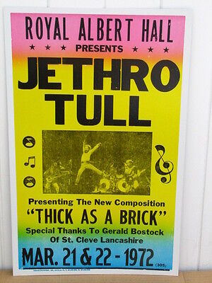 Vintage Jethro Tull Concert Poster, IAN ANDERSON England 1972 Thick as a Brick