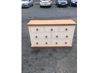 Painted Shabby Chic Solid Pine 4+3 Chest of Drawers VGC White & Antique Colour