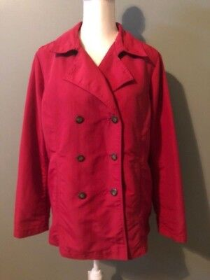 Eddie Bauer Womens Double Breasted Jacket Coat Size L Red Nylon Lightweight  Double Breasted Nylon Coat