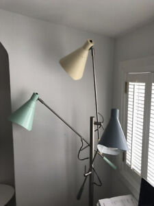 Tri-light FLOOR LAMP in PASTEL BLUE, GREEN + YELLOW
