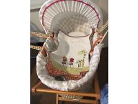 Mamas and Papas Moses Basket. Hardly, Gently Used. Stand, Jungle quilt, mattress, sheets included