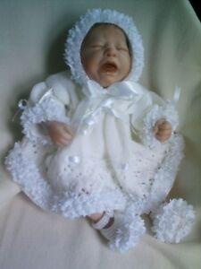 KNITTING PATTERN 3 PIECE DRESS SET BABY NEWBORN OR REBORN DOLL 17