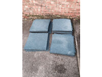 USED BUT GOOD CONDITION OFFICE TYPE CARPET TILES 50x50cm BLUE FOR 50p EACH