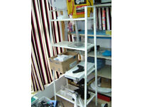 Shelving unit metal in white slightly narrow depth from top