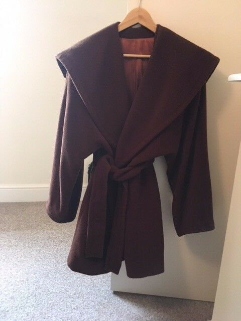 MARELLA Lined Pure New Wool Winter Coat - Chocolate Brown
