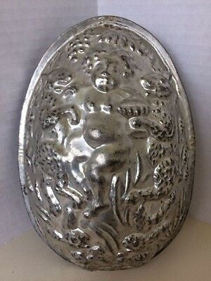 "Antique 9""H Chocolate Mold Easter Egg Cherub Bacchus Rabbits Grapes Hops Barley"