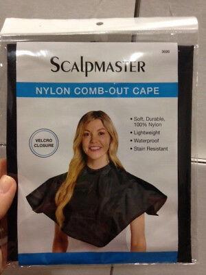 NW Scalpmaster 100% Nylon Comb-out cape Velcro closure Black 28x28 #3020