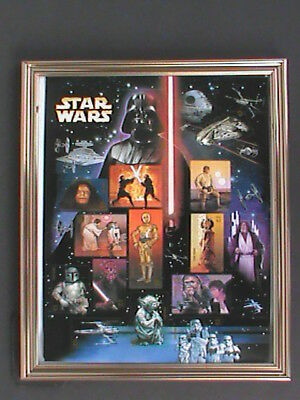 STAR WARS STAMP SHEET  -------IN A FRAME FOR SHELF OR WALL
