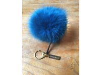Blue Helen Moor faux fur pom pom keyring / bag charm