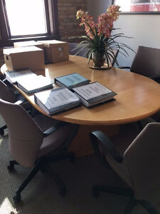 8' Krug Maple board room table with Elliptic base and 8 Chairs