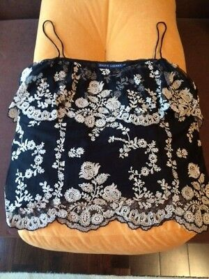 Ralph Lauren women's black/white mesh embroidered top size L