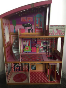 Barbie house, furniture, and car