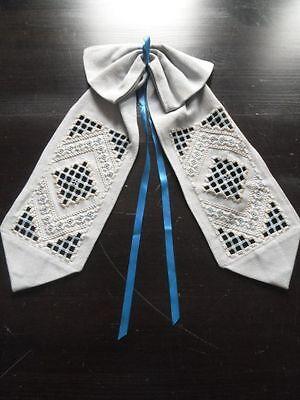 Hardanger Türschleifen Türbänder echte Handarbeit (2) creme u. hellblau CB1204