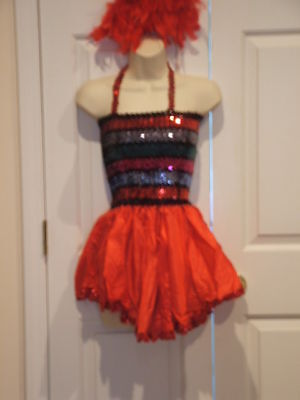 new in pkg red multi sequins tap dance dress recital costume adult large - Red Tap Dance Kostüm