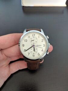 Fossil Townsman Chronograph, brown leather band, water resistant
