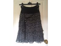 Black & detail ruffle skirt, size 8