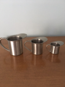 3 piece Aitkens pewter creamer/cups