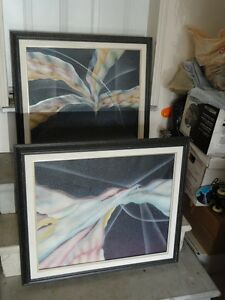 Set of 2 black framed abstract art print wall hanging decorative